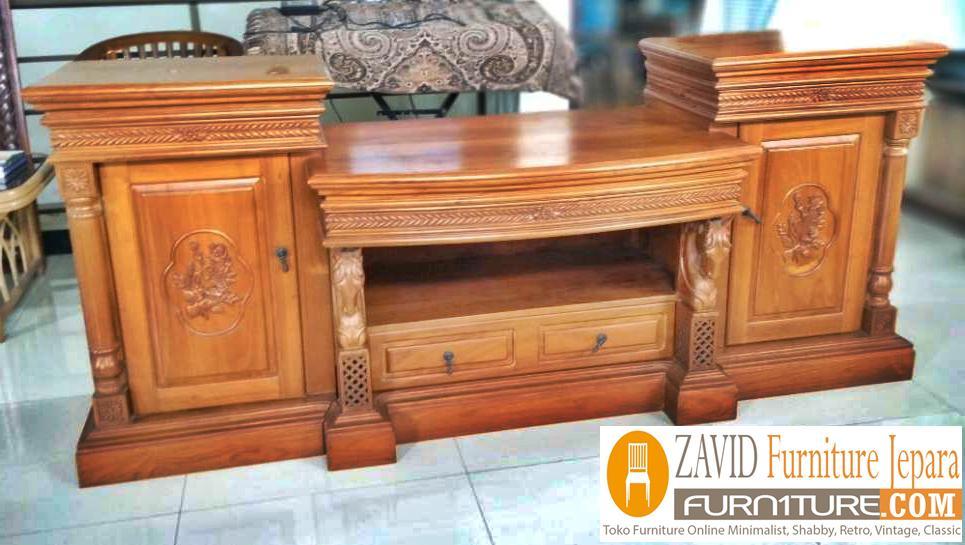 meja-tv-kayu-jati-mewah Meja Rak Tv Malang Kayu Jati Ukiran Minimalis