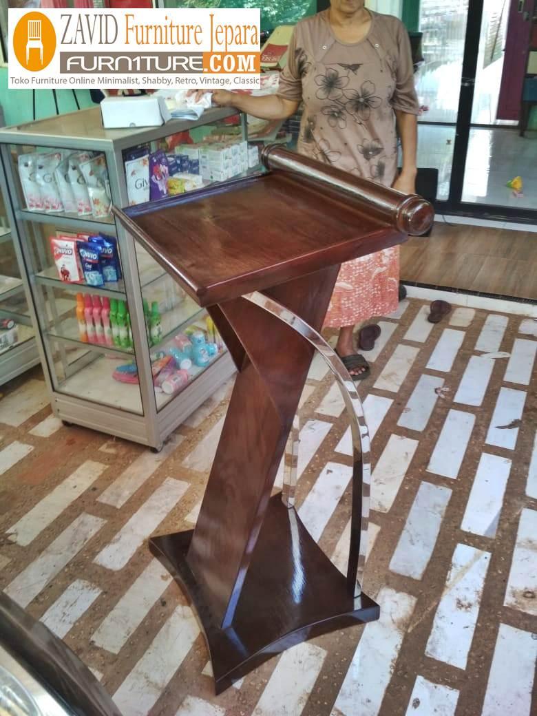 mimbar-podium-minimalis-stainless-jati Mimbar Masjid Podium Depok Kayu Jati Minimalis Variasi Stainless