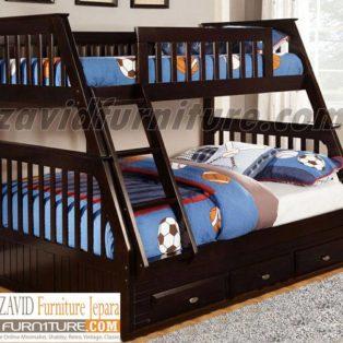 Tempat Tidur Anak Tingkat Solo Kayu Jati 3 Laci Minimalis