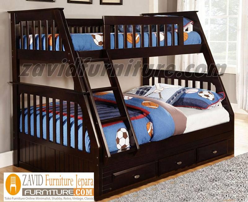 tempat-tidur-anak-tingkat-kayu-jati Tempat Tidur Anak Tingkat Solo Kayu Jati 3 Laci Minimalis