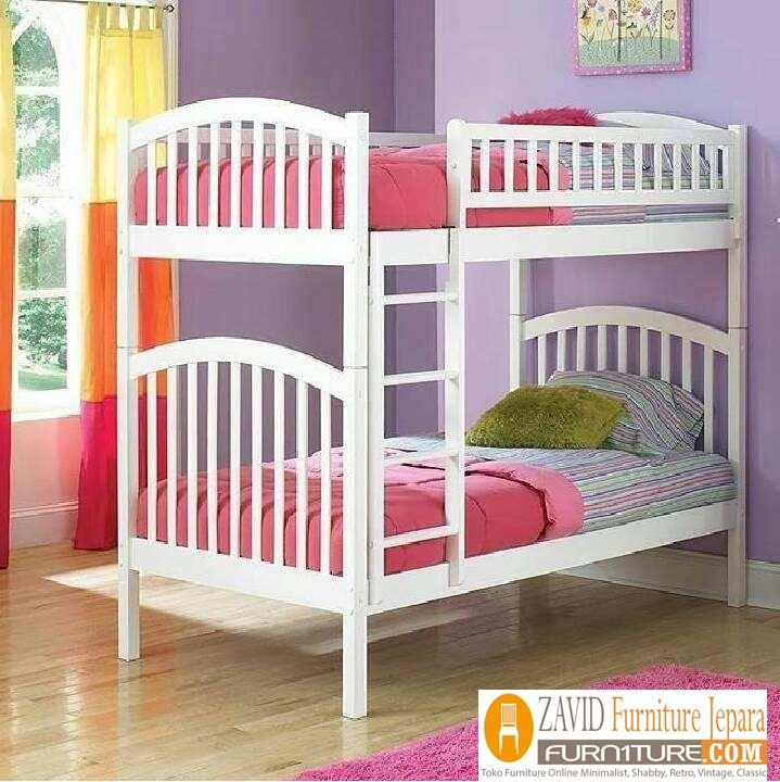 tempat-tidur-tingkat-duco-putih Tempat Tidur Anak Tingkat Bandung Kayu Jati Duco