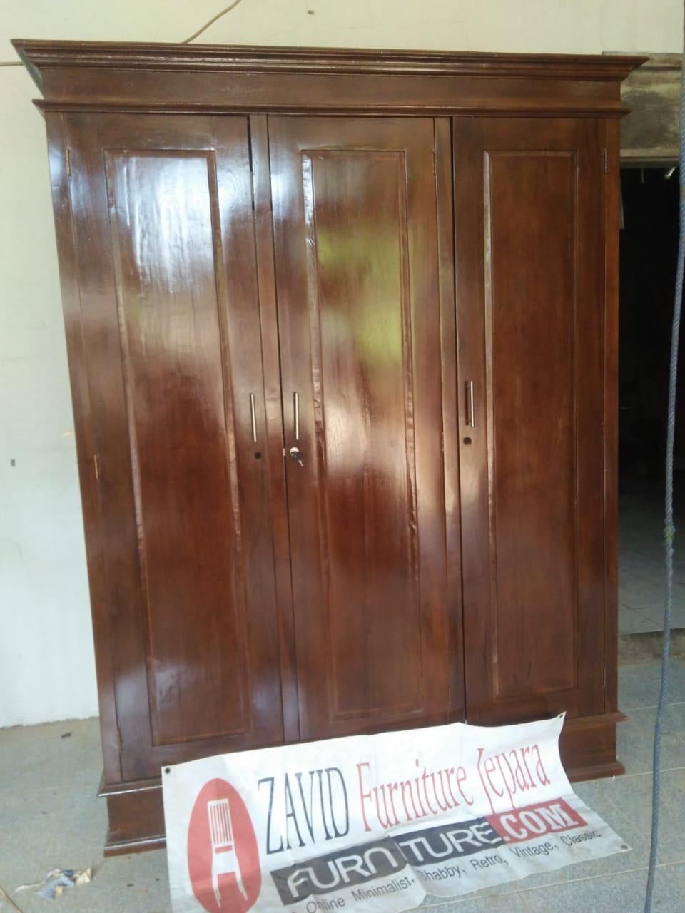jual-lemari-pakaian-jati-3-pintu Jual Lemari Pakaian Kediri 3 Pintu Kayu Jati Minimalis