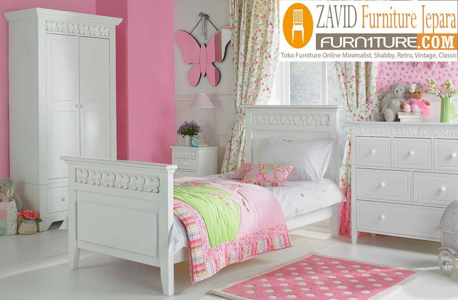 kamar set anak perempuan warna putih - Kamar Set Anak Madiun perempuan Warna Putih Duco