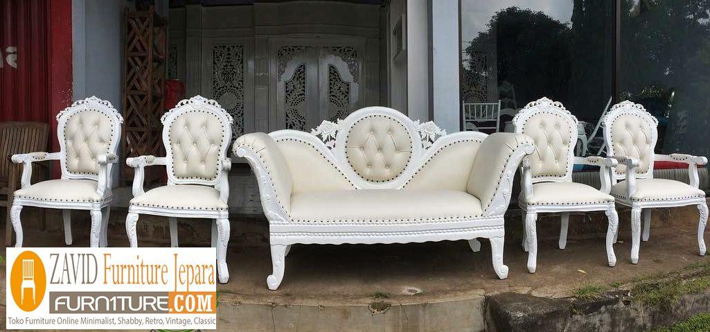 kursi pelaminan sofa putih duco - Kursi Pelaminan Putih Ukiran Modern Jepara