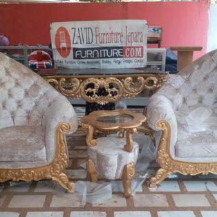 Kursi Teras Lamongan Mewah Sofa Ukiran Warna Emas