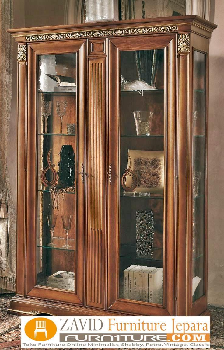 lemari-hias-kaca-kayu-jati-2-pintu Lemari Hias Kaca Solo Kayu Jati 2 Pintu Ukiran Minimalis