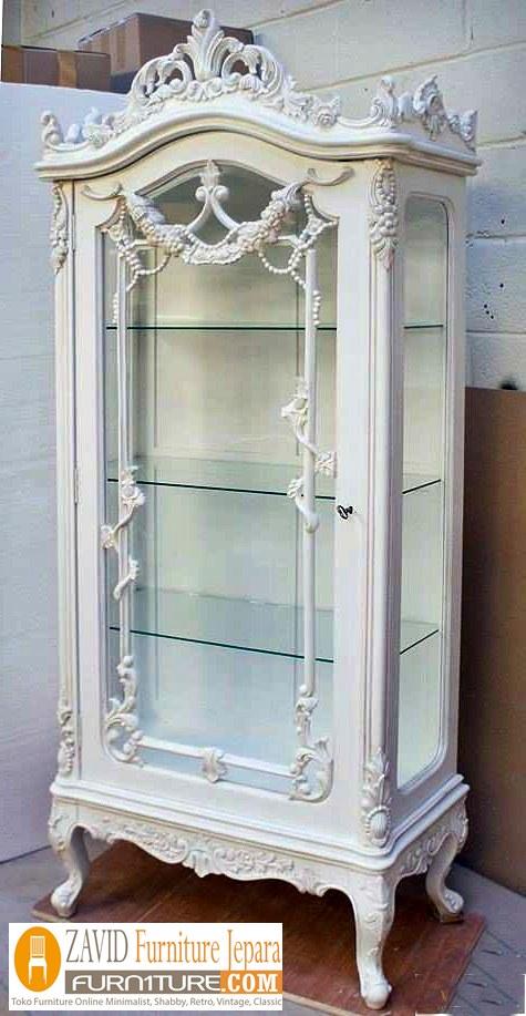 lemari hias kaca putih duco mewah - Lemari Hias Kaca Semarang Mewah Ukiran Warna Putih