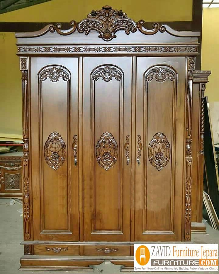 lemari-pakaian-3-pintu-kayu-jati-ukiran Jual Lemari Pakaian Cirebon 3 Pintu Kayu Jati Ukiran