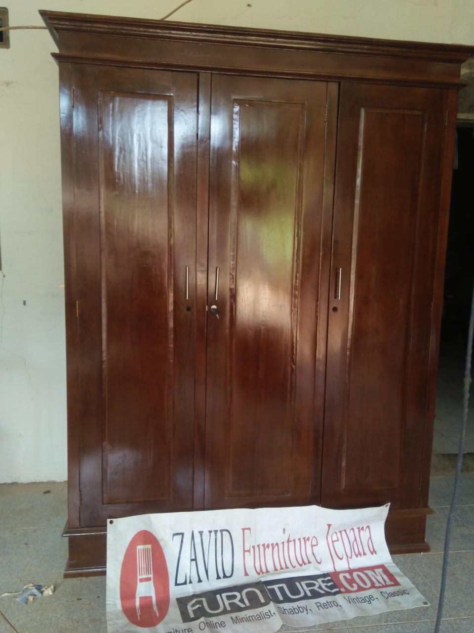 lemari-pakaian-kayu-jati-3-pintu Jual Lemari Pakaian Kediri 3 Pintu Kayu Jati Minimalis