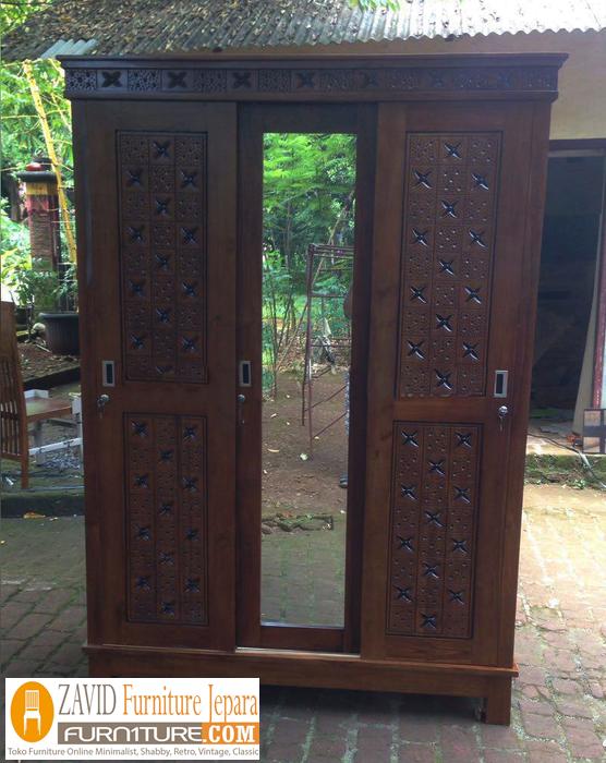 lemari-pakaian-pintu-sliding-modern Lemari Pakaian Semarang Kayu Jati Minimalis 3 Pintu Sliding Ukiran
