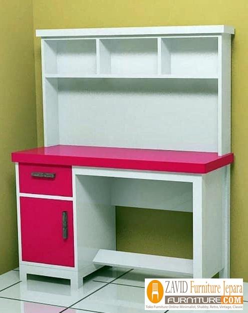 meja-belajar-anak-perempuan-pink-putih Meja Belajar Depok Anak Perempuan Pink Putih Minimalis