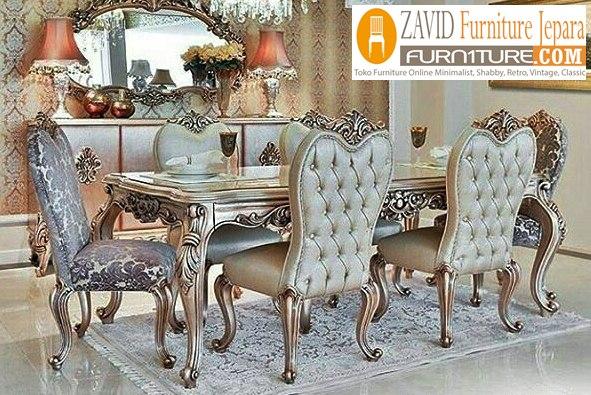 meja-makan-mewah-ukiran-cantik-warna-silver Meja Makan Mewah Semarang Ukiran Modern