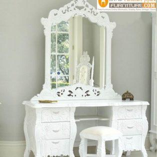 Meja Rias Mewah Madura Ukiran Putih Duco
