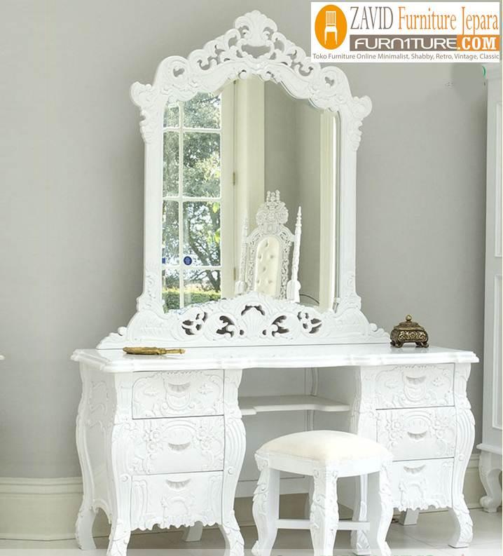 meja-rias-mewah-ukiran-warna-putih Meja Rias Mewah Madura Ukiran Putih Duco