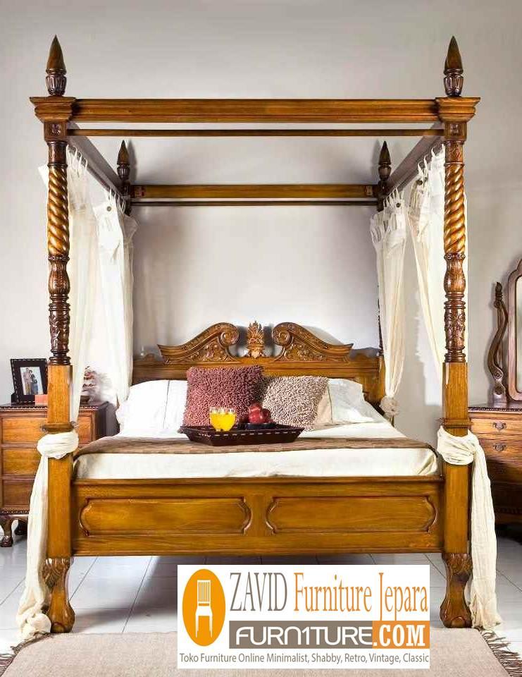 tempat-tidur-kanopi-kayu-jati-klasik-sederhana Tempat Tidur Kanopi Klasik Kayu Jati Ukiran Terbaru Jepara