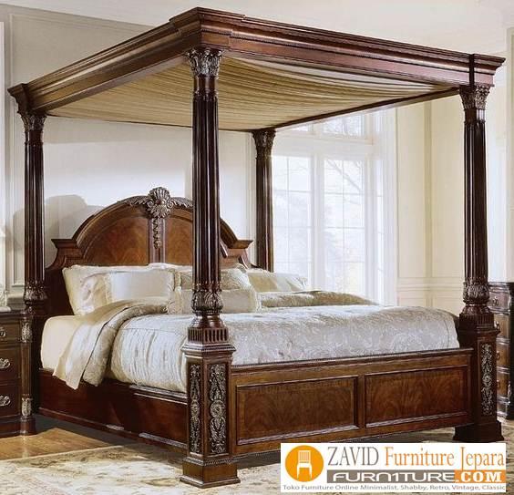tempat-tidur-kanopi-kayu-jati-klasik Tempat Tidur Kanopi Klasik Kayu Jati Ukiran Terbaru Jepara