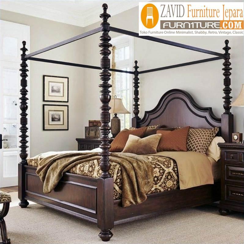 tempat-tidur-kanopi-klasik Tempat Tidur Kanopi Klasik Kayu Jati Ukiran Terbaru Jepara