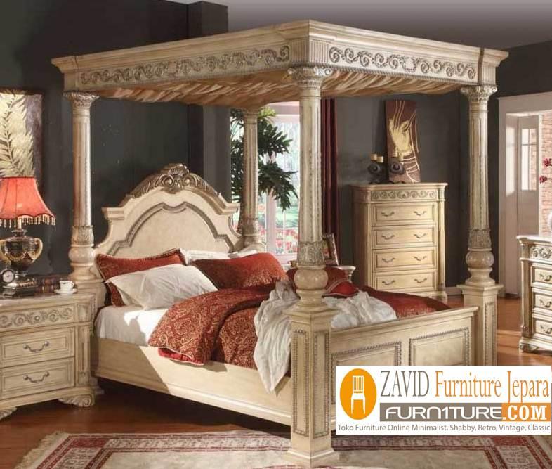 tempat-tidur-kanopi-mewah Tempat Tidur Kanopi Klasik Kayu Jati Ukiran Terbaru Jepara