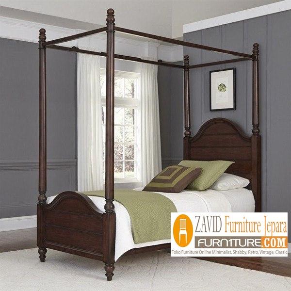 tempat-tidur-kanopi-minimalis-baru Tempat Tidur Kanopi Klasik Kayu Jati Ukiran Terbaru Jepara