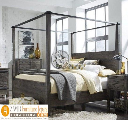 tempat-tidur-kanopi-minimalis-jati Tempat Tidur Kanopi Klasik Kayu Jati Ukiran Terbaru Jepara
