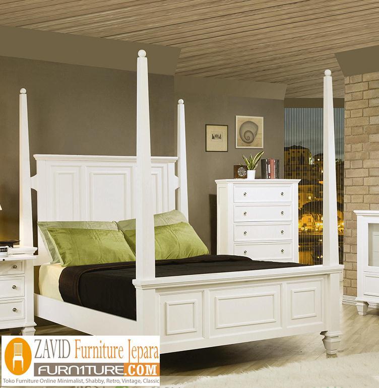 tempat-tidur-kanopi-putih-duco Tempat Tidur Kanopi Klasik Kayu Jati Ukiran Terbaru Jepara