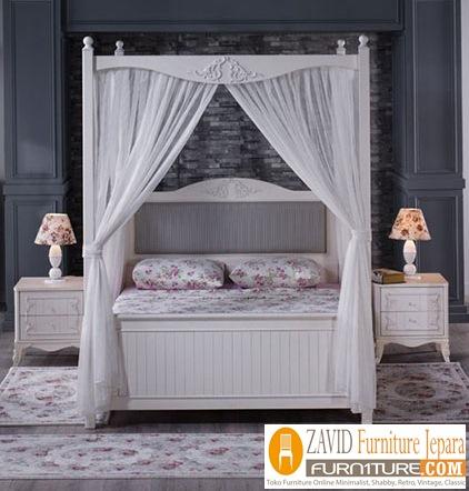 tempat-tidur-kanopi-putih Tempat Tidur Kanopi Klasik Kayu Jati Ukiran Terbaru Jepara