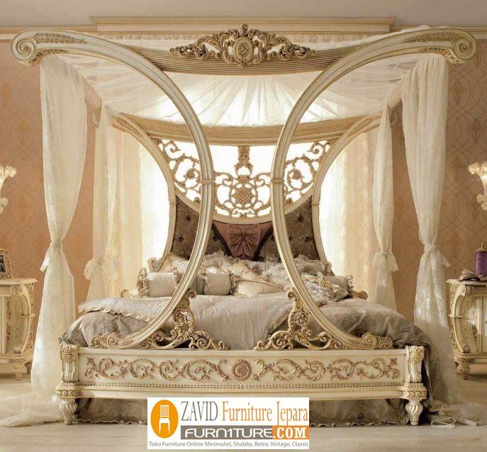 tempat-tidur-kanopi-ukiran-mewah Tempat Tidur Kanopi Klasik Kayu Jati Ukiran Terbaru Jepara