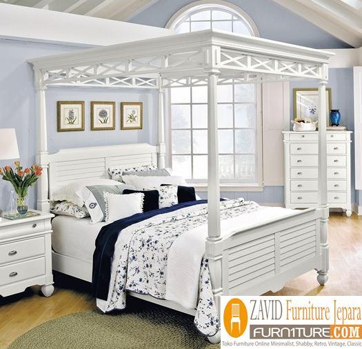 tempat-tidur-kanopi-warna-putih-minimalis Tempat Tidur Kanopi Klasik Kayu Jati Ukiran Terbaru Jepara