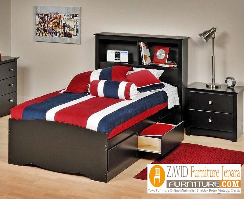tempat tidur laci minimalis warna hitam - Tempat Tidur Anak Medan 3 Laci Minimalis Warna Hitam