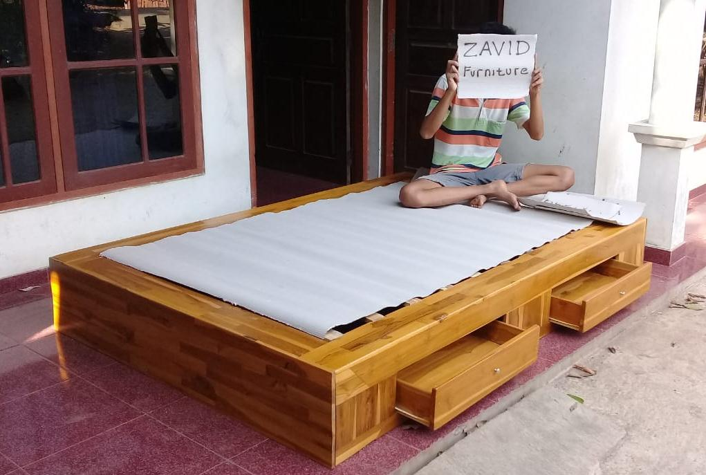 tempat tidur laci natural kayu jati - Jual Tempat Tidur Laci Madiun Kayu Jati Minimalis Murah