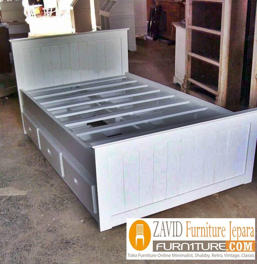 tempat-tidur-laci-samping-warna-putih Tempat Tidur Semarang Laci Samping Minimalis Warna Putih