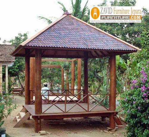 gazebo-dengan-bahan-kayu-glugu Jual Gazebo Minimalis Bahan Baku Berkualitas Tinggi