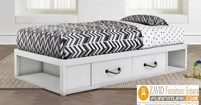 tempat tidur laci minimalis warna putih duco - Tempat Tidur Laci Minimalis Warna Putih
