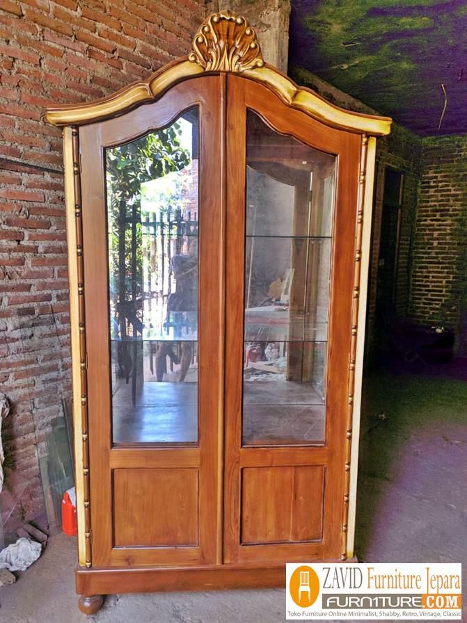 lemari-hias-kaca-kayu-jati-2-pintu Lemari Hias Kayu Jati 2 Pintu Minimalis