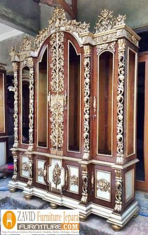 lemari-hias-kaca-mewah-ukiran-kayu-jati Lemari Hias Mewah Jati Ukir 88 Desain Paling Laris