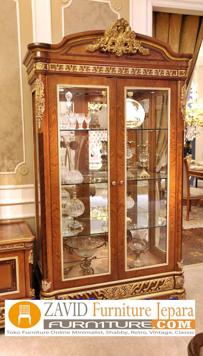 lemari-hias-mewah-2-pintu-kayu-jati Lemari Hias Mewah Jati Ukir 88 Desain Paling Laris