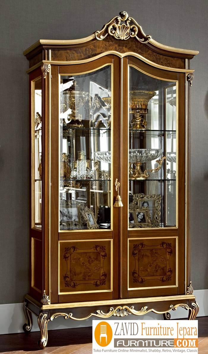 lemari-hias-mewah-desain-2-pintu-ukiran Lemari Hias Mewah Jati Ukir 88 Desain Paling Laris