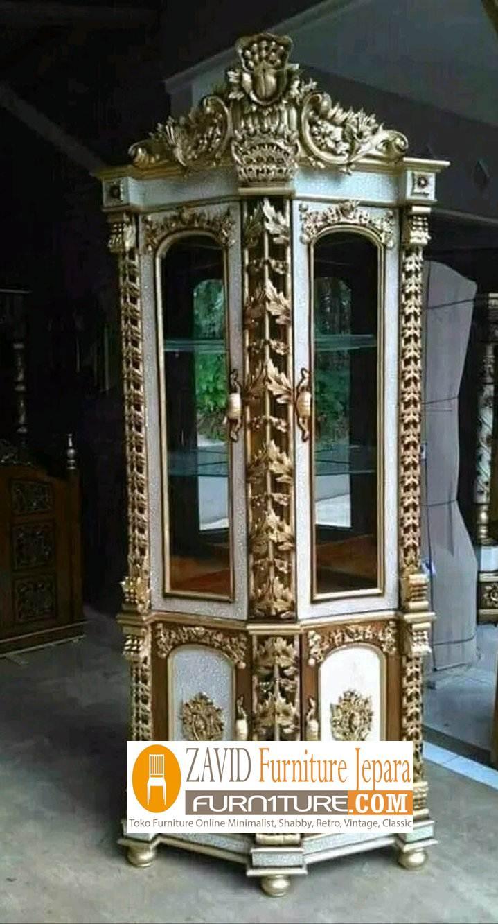 lemari-hias-mewah-sudut-modern Lemari Hias Mewah Jati Ukir 88 Desain Paling Laris