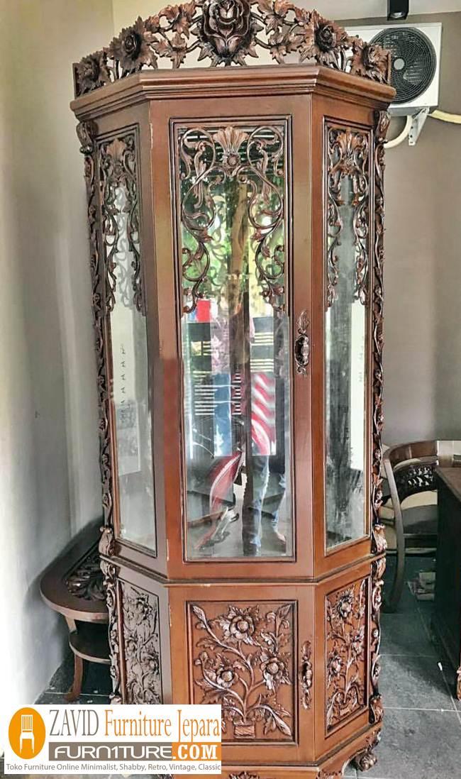lemari-hias-sudut-palembang Lemari Hias Sudut Surabaya Ukiran Kayu Jati Modern