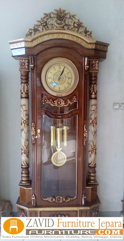 lemari-jam-hias-ukiran-bunga-mawar-modern Almari Jam Mawar Ukiran Kayu Jati