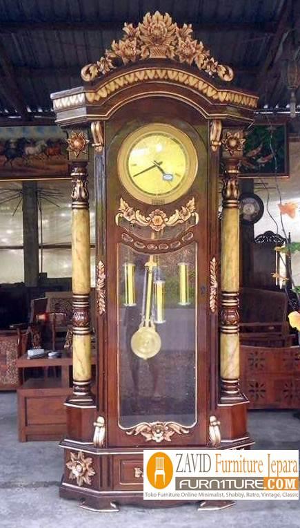 lemari-jam-hias-ukiran-mawar Almari Jam Mawar Ukiran Kayu Jati