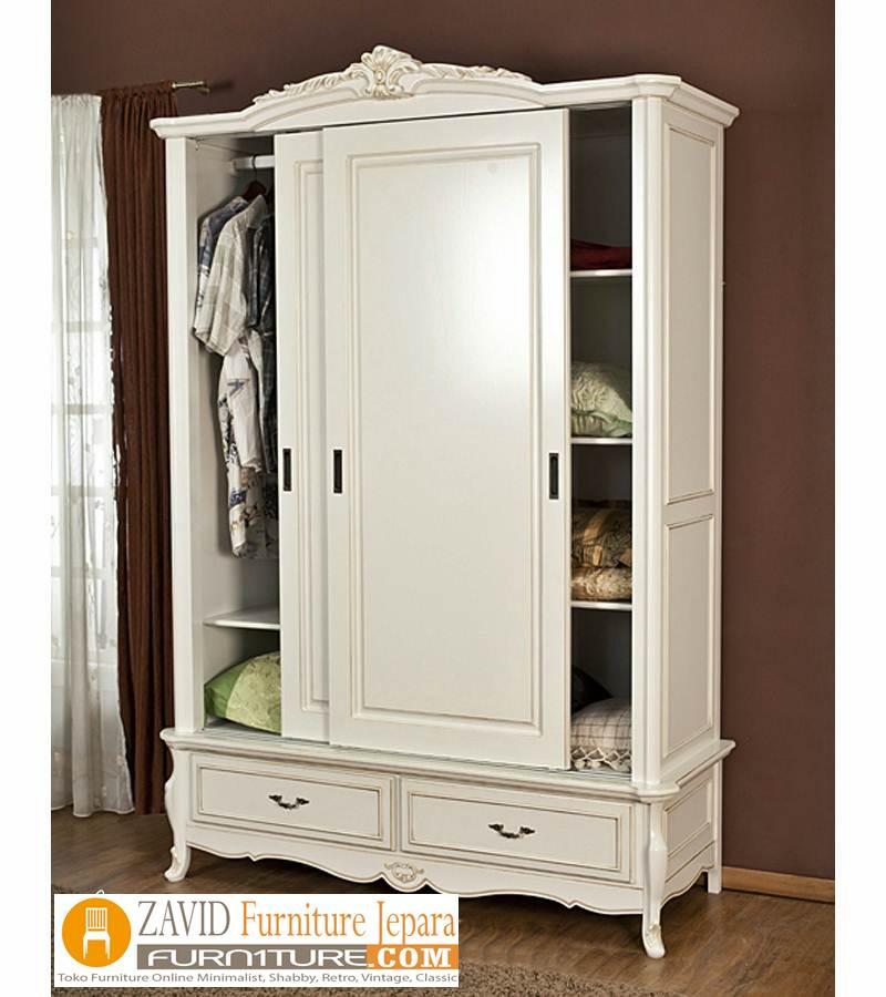 lemari-pakaian-2-pintu-sliding-putih-duco Lemari Pakaian 2 Pintu Kayu Jati Minimalis Model sliding