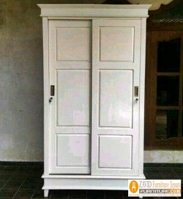 lemari-pakaian-2-pintu-sliding-warna-putih Lemari Pakaian 2 Pintu Kayu Jati Minimalis Model sliding