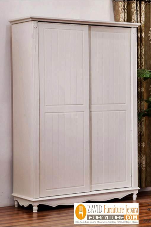 lemari-pakaian-desain-dua-pintu-sliding-warna-putih-duco Lemari Pakaian 2 Pintu Kayu Jati Minimalis Model sliding