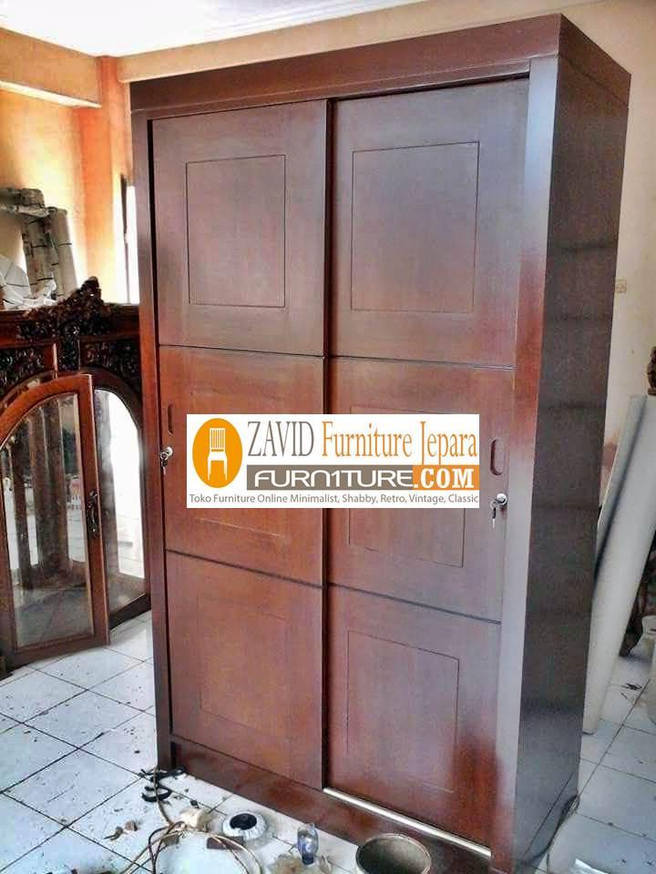 lemari-pakaian-kayu-jati-2-pintu Lemari Pakaian 2 Pintu Kayu Jati Minimalis Model sliding