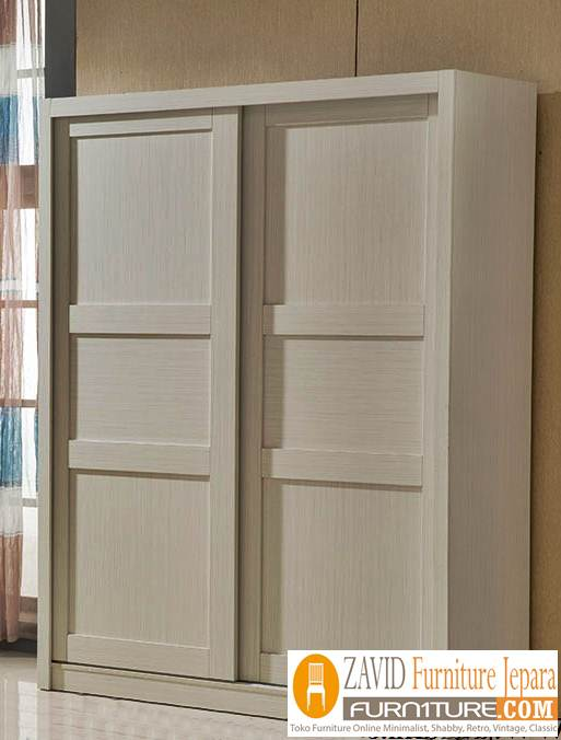 lemari-pakaian-minimalis-putih-duco-pintis Lemari Pakaian 2 Pintu Kayu Jati Minimalis Model sliding