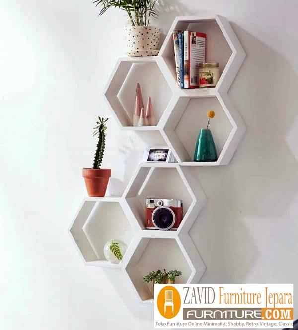 rak buku dinding model rumah tawon - Rak Buku Dinding Model Rumah Tawon Modern Unik