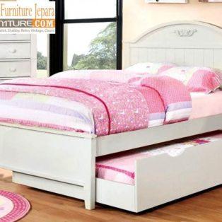 Tempat Tidur Bekasi Sorong Minimalis Putih Duco