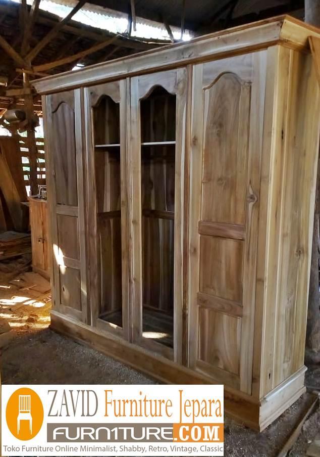 lemari-pakaian-jati-4-pintu-baru Lemari Pakaian Terlaris 2020 4 Pintu Minimalis Kayu Jati