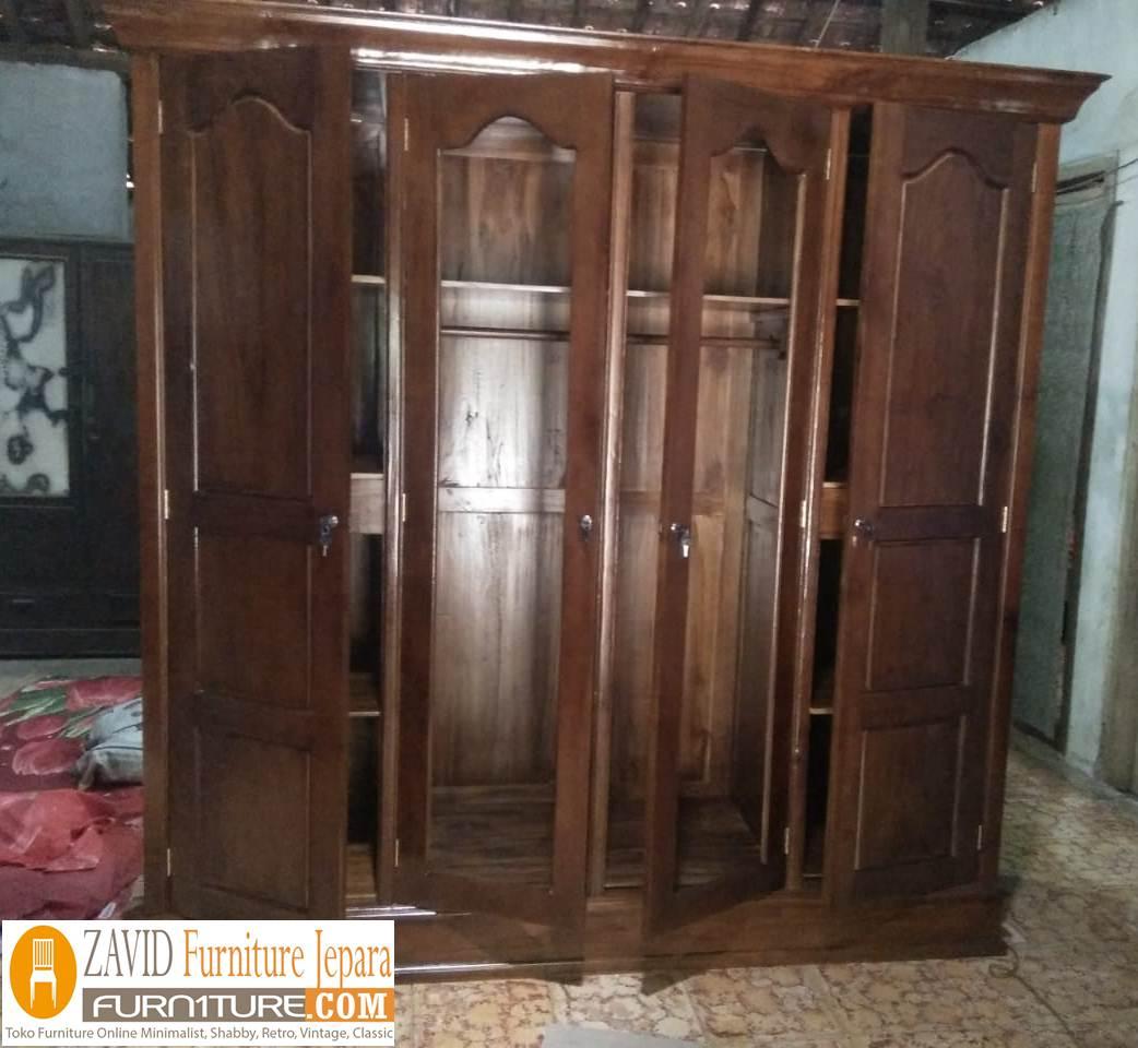 lemari-pakaian-jati-4-pintu-natural Lemari Pakaian Terlaris 2020 4 Pintu Minimalis Kayu Jati